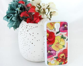 Pansy Samsung Galaxy S5 Case – Floral Samsung Galaxy S5 Case – Yellow Red Pink and Purple Flower Samsung Galaxy S5 Case -Samsung Galaxy Case