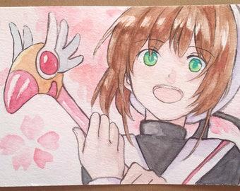 Cardcaptor Sakura-Kinomoto Sakura Watercolor Postcard