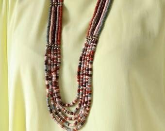 Long Beaded Necklace - Boho Beaded Necklace