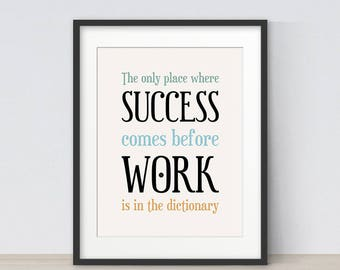 Inspirational Quote, Office Decor, Office Wall Art, Motivational Art, Success Quote, Typography Poster, Home Office Decor, Office Print