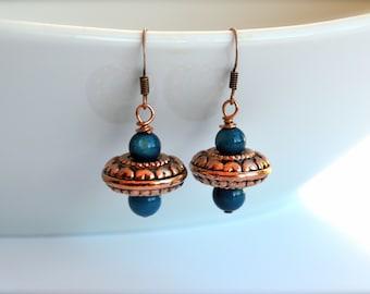 Blue and copper earrings, freshwater pearl earrings, UFO earrings, Vintage earrings, Handmade earrings, Bohemian earrings, Under 10 dollar.