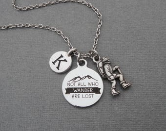 Not All Who Wander Are Lost Hiking Necklace, Custom Backpacker Bangle Bracelet, Keychain for Hiker Backpacking Enthusiast Great Outdoors