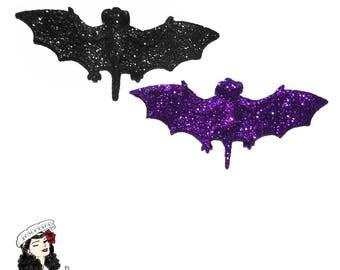 Glitter Bat Brooch ~ geeky goth rockabilly girl