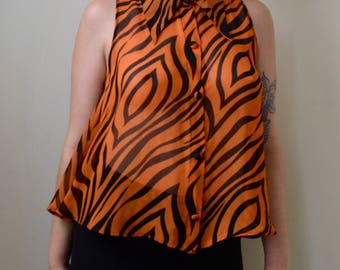 Awesome bright orange and black swirly striped 60s short sleeve sheer button up blouse- S/M