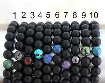 Personalized Black Onyx Customized Bracelet Mens Bracelet Mens Gift Boyfriend Gift Brother Gift Mens Beaded Bracelet Dad Gift