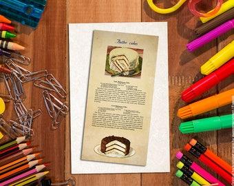 Food bookmark. Shabby chic paper bookmark. Bakery art. Butter cakes. Food art print. Vintage food illustration. Vintage images food