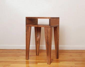 Angle Leg Nightstand, Side Table, End Table- Walnut