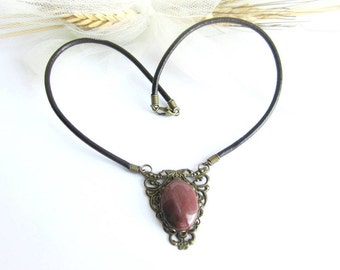 Jasper choker necklace bronze filigree pendant gemstone leather choker necklace vintage victorian style necklace italian jewelry