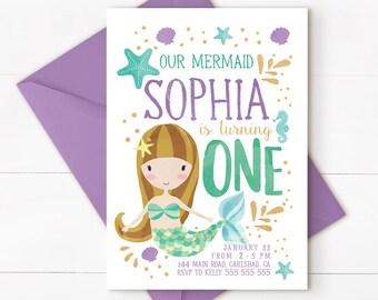 Under the sea invitation, mermaid birthday invitation, Mermaid under the sea invitation, mermaid 1st birthday, mermaid party