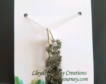 Pyrite and Obsidian Pendant