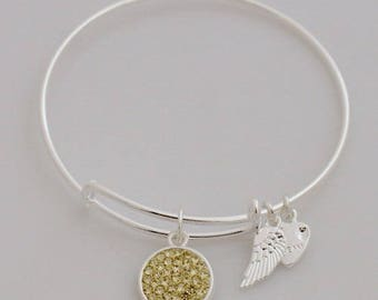 AA1018B Light Gold Pave Crystal Adjustable Wire Bracelet w Small Angel Wing & Heart Charms ~ Silver Plated