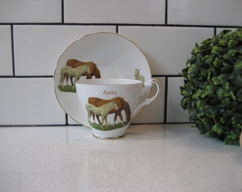 BOGO 40% OFF // Vintage Argyle China Teacup Set - Burley - Chestnut Mare - Gray foal - made in England - Very sweet - Retro bone china duo