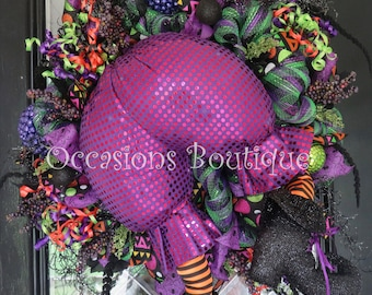 Halloween Wreath, Whimsical Wreath, Halloween Decoration, Front door Wreath, Witch Wreath, Deco Mesh Halloween Wreath, Ready to Ship