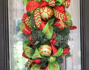 Christmas door swag, Teardrop swag, Holiday swag, Swag for door, Christmas wreath, Christmas decor