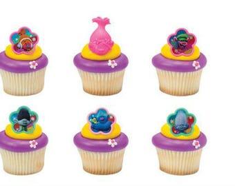 Trolls Cupcake Topper Rings - Set of 12