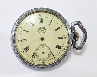Vintage, Pocket Watch, Movement, Case, Tieche, Steampunk, Altered Art, Jewelry, Beading, Supplies, Supply