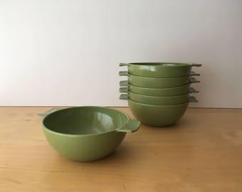 Set of 6 Vintage Melaware Melamine Bowls- Olive Green Colour