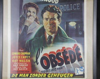 Vintage Movie Poster - L'Obsede (1947) starring John Mills and Joan Greenwood - Original Poster