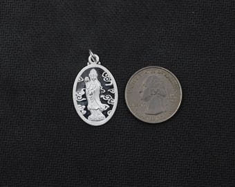 26mm Sterling Silver Bodhisattva Guanyin Pendants -- 925 Silver Charms Wholesale For Bridesmaid Gift Party XXSP-S0080