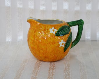 """Orange Pitcher ~ Maruhon Ware ~ Made in Japan ~ Hand-Painted ~ 1950s ~ MCM ~ Mid Century ~ 3 to 3.5 cup capacity ~ 4.25"""" tall x 5"""" diameter"""