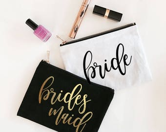 Bridesmaid Cosmetic Bag - Bridesmaid Makeup Bag - Cosmetic Bags set of 7 , 8, 9 , 10 or set of 4, 5, 6 YOU CHOOSE QTY (EB3222BP)