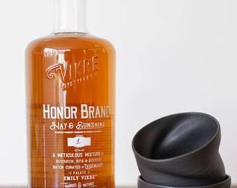 PAIR of Ceramic Black Stone Whiskey/Tea cup