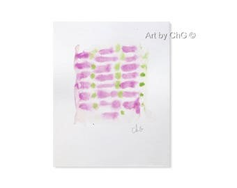 Contemporary abstract art, Original Watercolor, Painting, 15 x 18.6 cm, Paris watercolor, geometric, dots, lines, purple and green