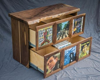Record player stand with vinyl record storage display cabinet featuring live edge wood slab