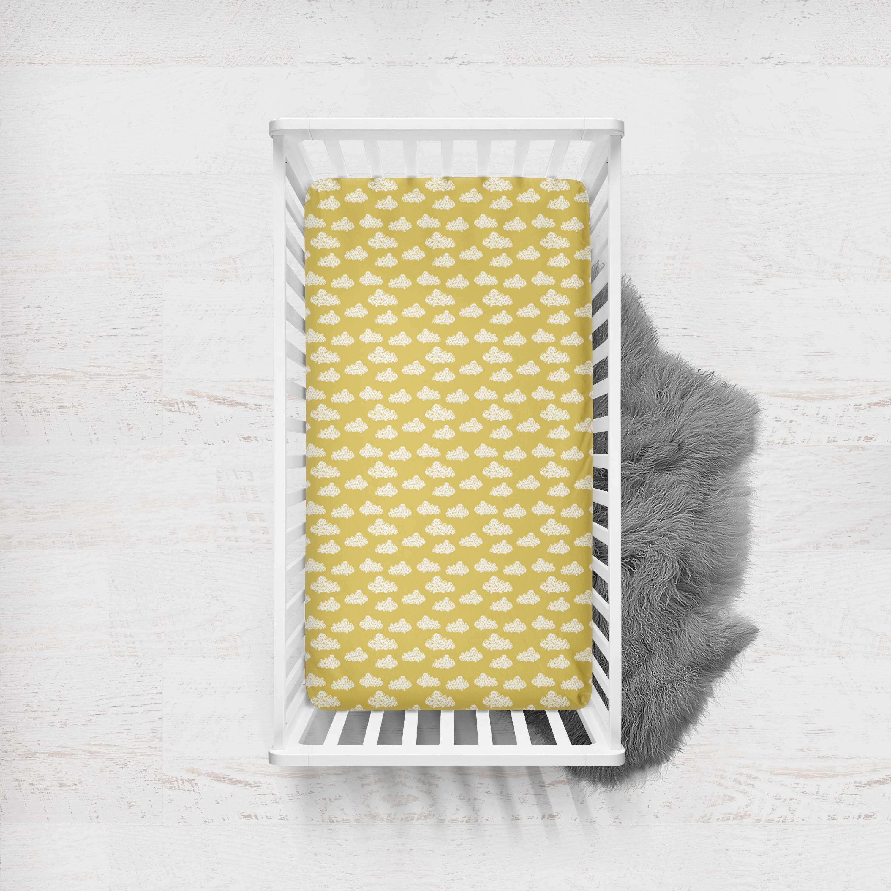 Fitted Crib Sheet Clouds In Mustard Yellow Ready To Ship