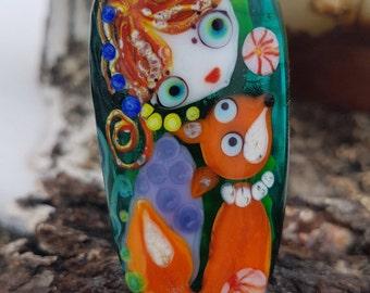 Fox and girl bead lampwork focal, glass fox, jewelry making, animal pendant, handmade fox, art glass