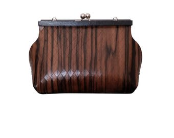 WOODEN BAG in EBONY handmade in italy eco purse vintage style modern style