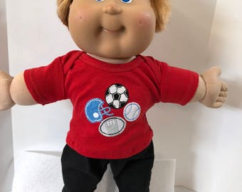 "BOY Cabbage Patch 16 inch Doll, 2-Piece Outfit, Cool ""All SPORTS"" Top, Black Pants, 16 inch Cabbage Patch Doll Clothes, Soccer & Football!"