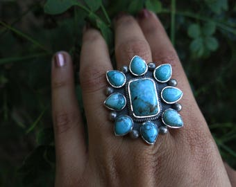 Size 7 Turquoise Bloom Sterling Silver Ring