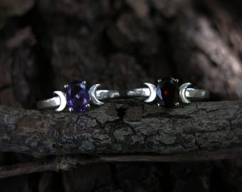 Triple Goddess Moon Sterling Silver Ring