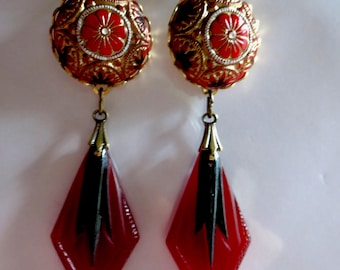 Bold Art Deco earrings long dramatic Art Nouveau earrings vintage style geometric drop earrings 1920s 1930s earrings red statement earrings