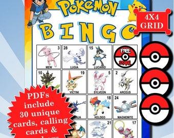 POKÉMON with Numbers 4x4 Bingo printable PDFs contain everything you need to play Bingo.