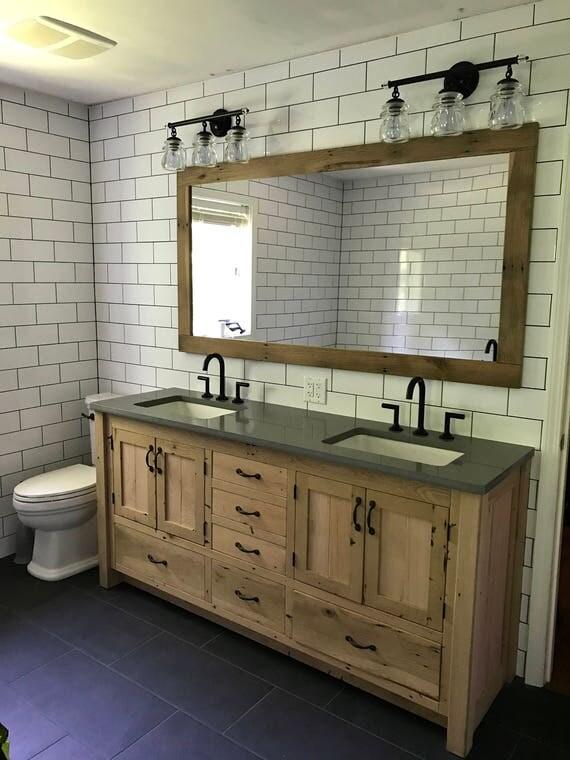 Rustic Vanity 72 Dual Sink Reclaimed Barn Wood