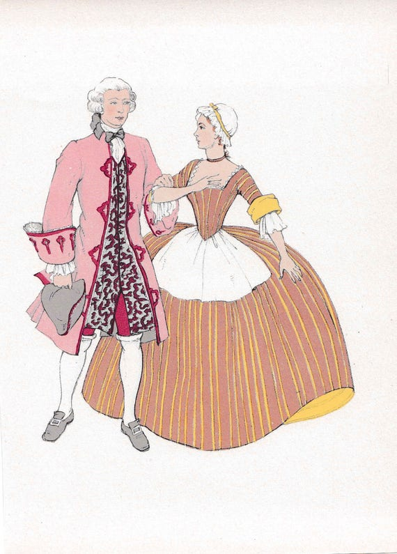 1940's print of 18th century man and woman in very fashionable outfits, wigs, ruffles, flounces, published 1940