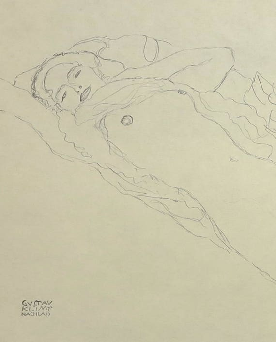 Large Gustav Klimt print of pencil drawing of reclining nude woman with drapery and stockings, 9 x 14 ins, 23 x 35.5 cm, published 1980