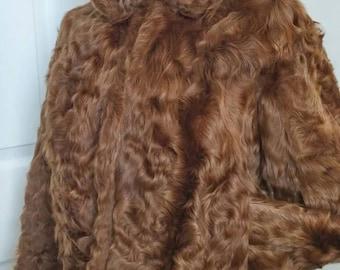 Vintage Lamb Fur Short Coat - Size Small - Hollywood Glam -Auburn Brown Fur Jacket Australian Myer-Wedding Evening Holiday Cocktail Jacket