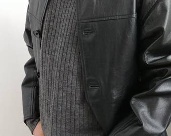 Mens Hipster Leather Car Coat Jacket - Small - 90s - Classic Fashion City Urban 3/4 Short Black Leather Jacket - Euro Style Fall Winter Coat