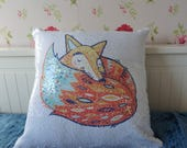 Reversible Sequin Cushion, Mermaid Fabric Pillow, Magical Changing Cushion, Personalised, Kids Sequin Pillow, Cute Animal Cushion, Kids Room
