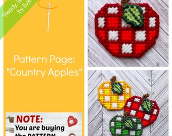 "Plastic Canvas Pattern Pages: ""Country Apples"" (apple and leaf design, graphs and photos, no written instructions) ***PATTERN ONLY!***"