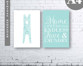 Laundry Wall Art Print. Set of Two (2)-Instant Download. Peg Wall Art. Clothes Pin. Aqua Laundry Printable Art. Laundry Quote Wall Art. A4