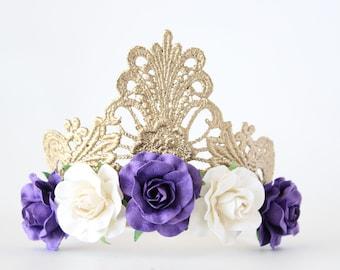 Princess Gold Crown Tiara with Purple + White Flowers - Alice - Princess Tiara - Adult - Toddler - Baby - Photo Prop - Gold Medallion