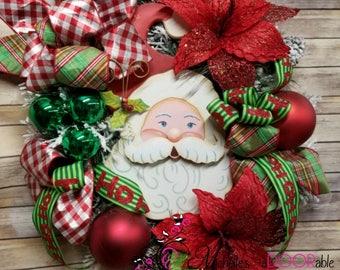 Christmas Wreath - Christmas Santa Wreath - Santa Face Wreath
