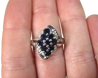 Vintage 10K White Gold Sapphire Ring Size 7