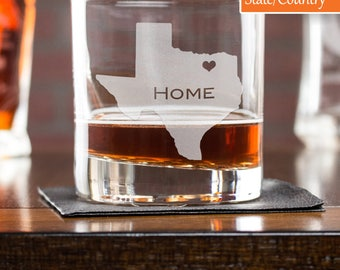 Mens Gift, Etched Whiskey Glass, Texas Whiskey Glass, Personalized Rocks Glass, State Glass, Gift For Him, Scotch Glass, Housewarming Gift