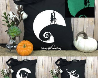 Glow in the Dark Nightmare before Christmas scene with Jack and Sally, Zero or Oogie Boogie on a light weight tote bag