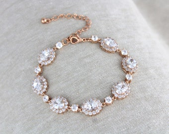 Rose gold bracelet, Crystal Bridal bracelet, Bridal jewelry, Tennis bracelet, Wedding jewelry, Bridesmaid bracelet, Cubic zirconia bracelet